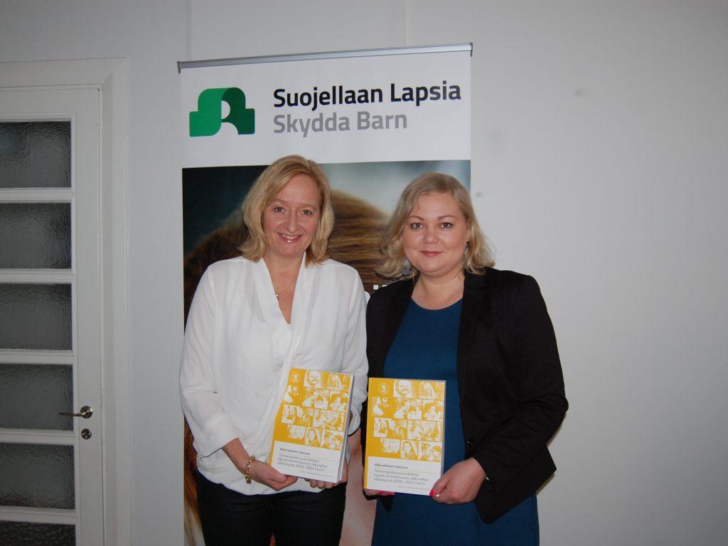 Kuvassa Suojellaan Lapsia ry:n erityisasiantuntijat Nina Vaaranen-Valkonen ja Hanna-Leena Laitinen. (c) Suojellaan Lapsia ry